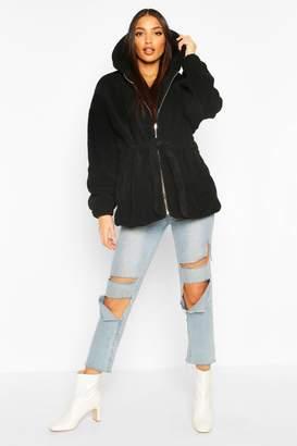 boohoo Oversized Hooded Belted Faux Fur Teddy Coat