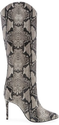Schutz Maryana Knee-High Snakeskin-Embossed Leather Boots