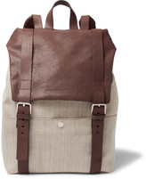Brunello Cucinelli Canvas And Grained-leather Backpack
