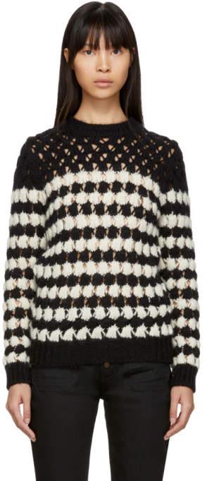 Saint Laurent Black and White Crochet Knit Sweater