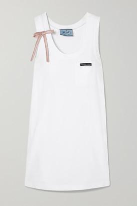 Prada Bow-detailed Appliqued Cotton-jersey Mini Dress - White