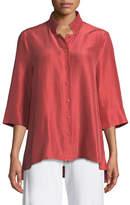 Eileen Fisher 3/4-Sleeve Silk Doupioni Shirt