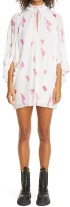 Ganni Long Sleeve Floral Diagonal Stripe Georgette Dress