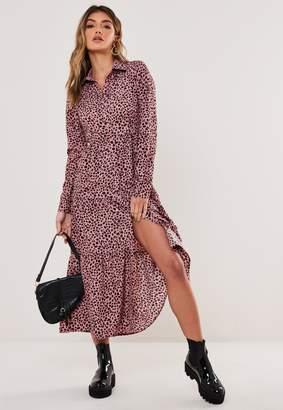 Missguided Blush Dalmatian Button Midi Smock Dress