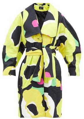 Elzinga - Abstract Poppy-print Cotton-poplin Belted Coat - Black Multi