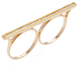 Maiyet 18K yellow Gold & 0.37 Total Ct. Diamond Baguette Bar Double Finger Ring