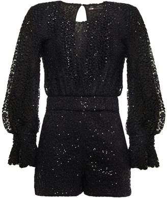 Maje Embellished Paneled Mesh And Jersey Playsuit