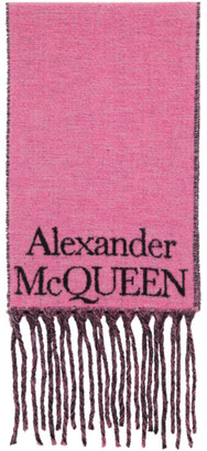 Alexander McQueen Pink and Black Wool Logo Scarf