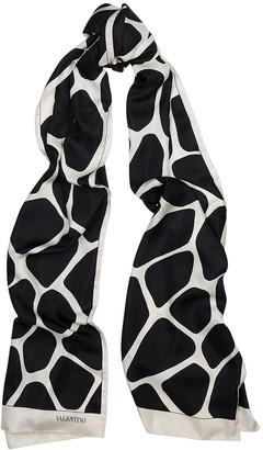 Valentino giraffe-print silk scarf