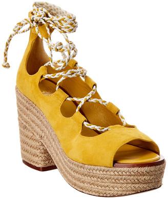 Tory Burch Positano Lace-Up Suede Platform Sandal