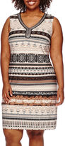Studio 1 Sleeveless Embellished Tribal Print Shift Dress - Plus