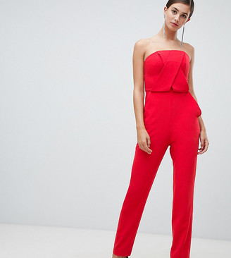 Asos DESIGN Tall structured bandeau jumpsuit with peg leg