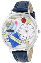 Whimsical Watches History Teacher Navy Blue Leather and Silvertone Unisex Quartz Watch with White Dial Analogue Display and Multicolour Leather Strap U-0640006