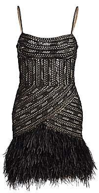 Gustavo Cadile Women's Beaded Feather Hem Party Dress