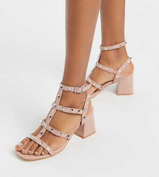 Public Desire Wide Fit Always studded block heeled sandal in blush patent