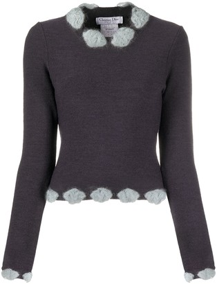 Christian Dior 2000s Pre-Owned Embellished Neck Knitted Top