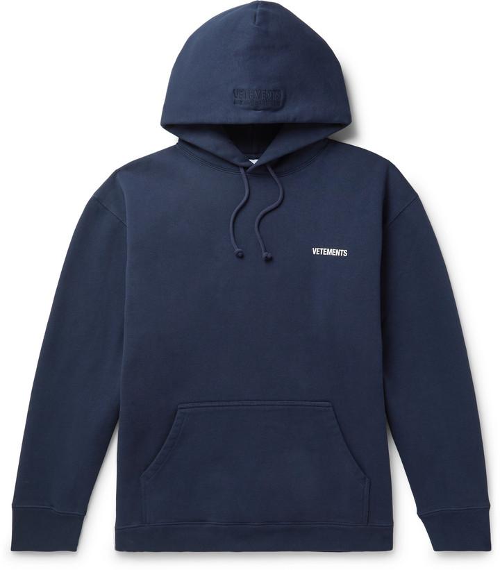 Vetements Logo-Print Fleece-Back Cotton-Blend Jersey Hoodie
