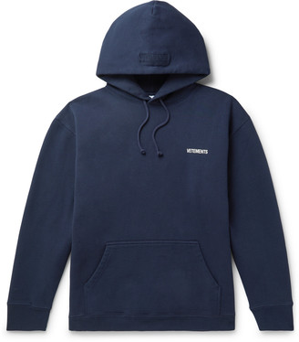 Vetements Logo-Print Fleece-Back Cotton-Blend Jersey Hoodie