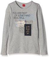 S'Oliver Girl's Mit Frontprint long sleeve T-Shirt, Grey (Grey Melange 9400), 176 (Herstellergröße: XL)