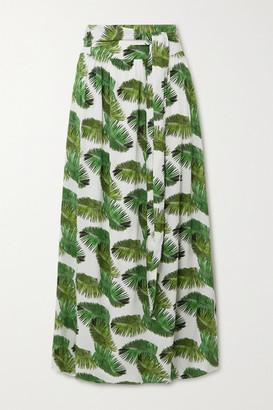 Melissa Odabash Elsa Belted Twill Maxi Skirt - White
