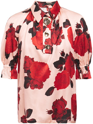 Mother of Pearl Petra Floral-print Satin Top