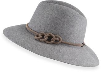 Brunello Cucinelli Rabbit Felt Tubular Monili Band Fedora Hat