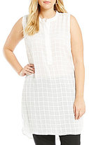 Vince Camuto Plus Sheer Plaid Henley Tunic