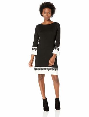 Calvin Klein Women's Petite Bell Sleeve Sweater Dress with Novelty Trim