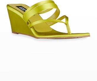 Pedro Garcia x Amlul Finisterre Satin Wedge Thong Sandals