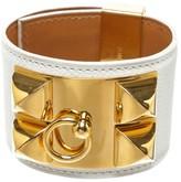Hermes Leather & Gold Tone Metal White Epson CDC Collier de Chien Bracelet