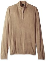 Geoffrey Beene Men's Long Sleeve Ribbed Yoke Quarter Zip Sweater, Taupe Heather