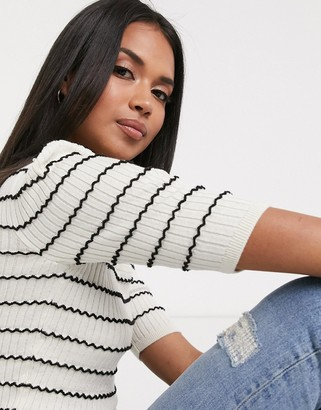 Pimkie cropped knit t-shirt in black and white stripe