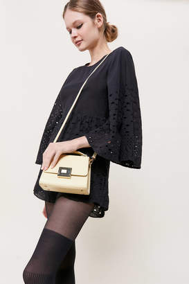 A. Cloud Buckled Leather Top Handle Crossbody Bag