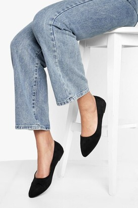 boohoo Wide Fit Pointed Toe Ballet Pumps