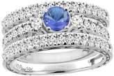 Sabrina Silver 14K White Gold Diamond Natural Tanzanite Engagement 3-pc Ring Set Engraved Round 6 mm, size 8.5