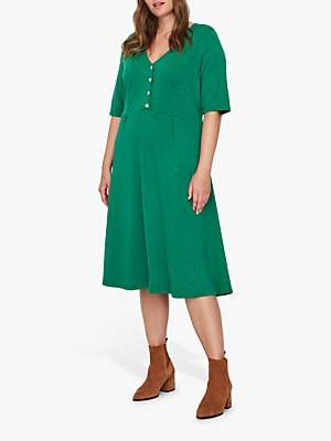 Junarose Curve Sane Button Down Jersey Dress, Lush Meadow