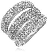 Vince Camuto Triple Bar Rhodium Pave Ring, Size 7