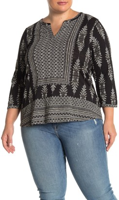 Lucky Brand Geo Printed Blouse (Plus Size)
