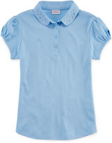 Izod Short-Sleeve Dazzle-Collar Polo - Girls 7-16 and Plus