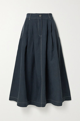 Mara Hoffman + Net Sustain Tulay Pleated Tencel Lyocell And Linen-blend Midi Skirt - Storm blue