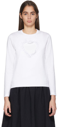 Comme des Garcons White Cut-Out Ruffle Heart Long Sleeve T-Shirt