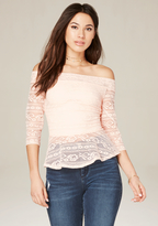 Bebe Linear Lace Peplum Top