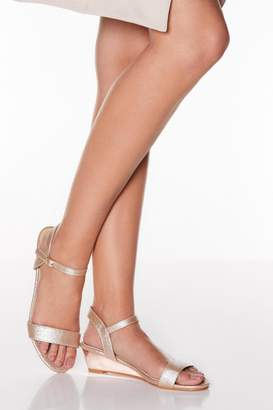 Quiz Rose Gold Metallic Low Heel Wedges