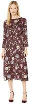 Vince Camuto Long Sleeve Windsor Floral Midi Dress (Port) Women's Clothing