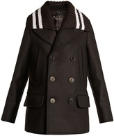 Givenchy Detachable-collar wool-blend felt coat