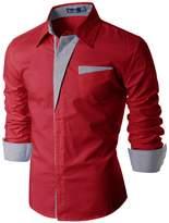 Doublju Mens Dress Shirt with Contrast Neck Band, Navy