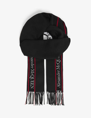 Alexander McQueen Logo-print wool and cashmere-blend scarf 230cm x 35cm