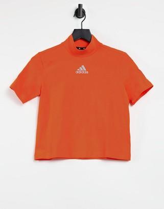 adidas Training cropped short sleeve high neck t-shirt in orange