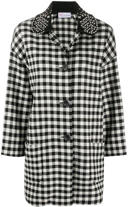 RED Valentino Check-Pattern Single-Breasted Coat