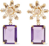 Bounkit Gold-Tone Quartz And Amethyst Earrings